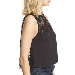 Free People Black Scallop Lace Open Back Crop Top
